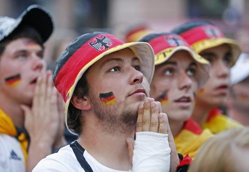Fans of the German national soccer team gesture after Spain scored a goal during the Euro 2008 soccer final match between Germany and Spain in Erfurt, central Germany.