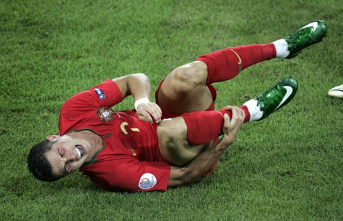 Portugal's Cristiano Ronaldo reacts during the quarterfinal match between Portugal and Germany in Basel, Switzerland, Thursday, June 19, 2008, at the Euro 2008 European Soccer Championships in Austria and Switzerland.