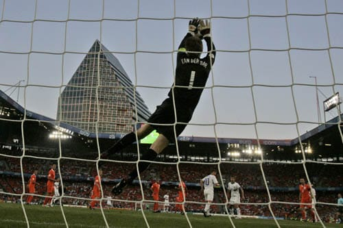 Netherlands' Edwin van der Sar catches the ball during the quarterfinal match between the Netherlands and Russia in Basel, Switzerland.