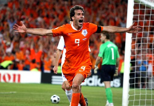 Netherlands' Ruud van Nistelrooy celebrates after scoring his team's equalizer during the quarterfinal match between the Netherlands and Russia in Basel, Switzerland.