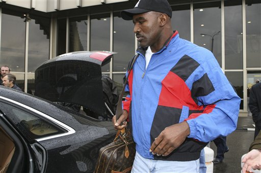 A heavyweight champion boxing Evander Holyfield arrives in Moscow, Sunday, Oct. 7, 2007. Holyfield is jumping back into the ring Oct. 13 to fight Sultan Ibragimov at Moscow's Khodynka Ice Palace arena, part of his quest to retire as the oldest heavyweight champion.
