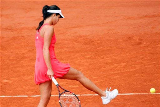 Ana Ivanovic kicks away a ball at the French Open final.
