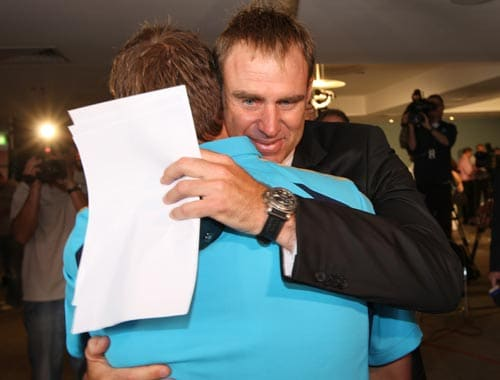 Matthew Hayden hugs teammates after announcing his retirement from representative cricket at a press conference in Brisbane on January 13, 2009. Hayden amassed 8,625 runs in 103 Tests at an impressive average of 50.74.