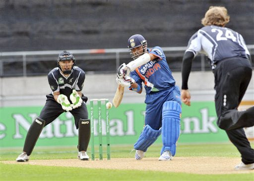 Sachin Tendulkar plays to the boundary against New Zealand in the 2nd One-Day International at Westpac Stadium in Wellington. (AP Photo)