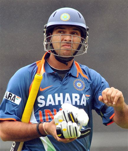 Yuvraj Singh out for 0 against New Zealand in the 2nd One-Day International at Westpac Stadium, Wellington. (AP Photo)