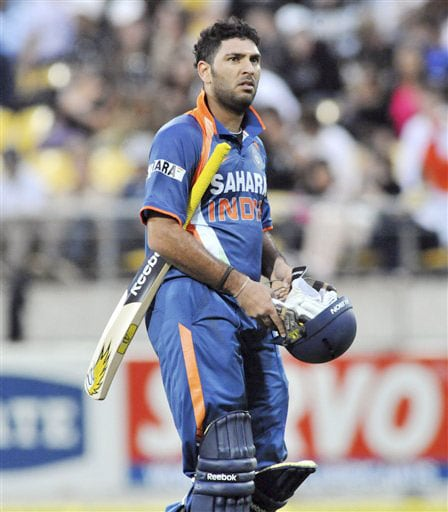 Yuvraj Singh out for 50 off 37 balls against New Zealand in the second Twenty20 International at Westpac Stadium in Wellington. (AP Photo)