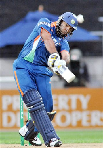 Yuvraj Singh bats against New Zealand in the second Twenty20 International at Westpac Stadium in Wellington. (AP Photo)