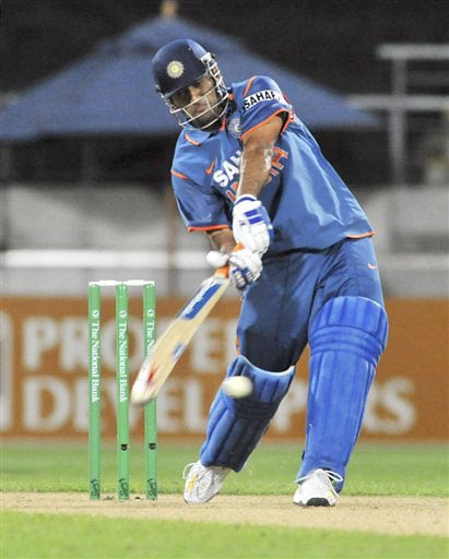 MS Dhoni bats against New Zealand in the second Twenty20 International at Westpac Stadium in Wellington. (AP Photo)