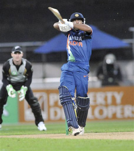 Ravindra Jadeja skies a ball against New Zealand in the second Twenty20 International at Westpac Stadium in Wellington. (AP Photo)