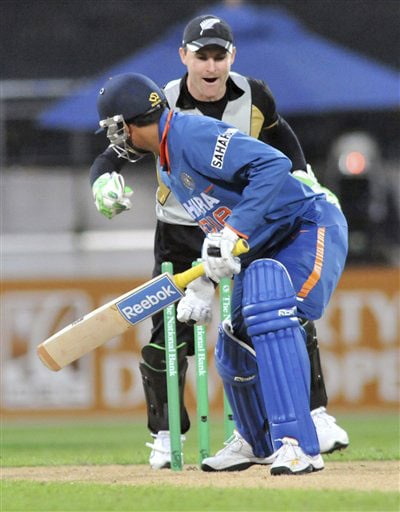 Brendon McCullum celebrates after Yusaf Pathan was bowled by Daniel Vettori for 0 in the second Twenty20 International at Westpac Stadium in Wellington. (AP Photo)