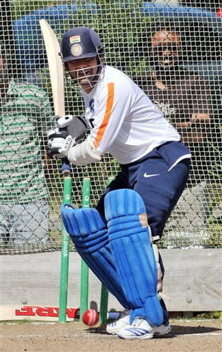 Sachin Tendulkar in the nets at the Indian team's training for the 1st Test against New Zealand at Hamilton on Wednesday. (AP Photo)