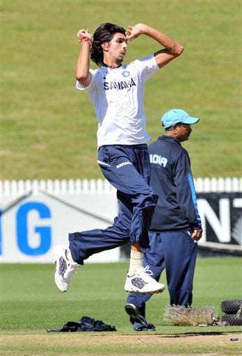 Ishant Sharma at the Indian team's training for the 1st Test against New Zealand at Hamilton on Wednesday. (AP Photo)