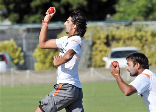 Ishant Sharma bowls in the nets during Team India's training at Nelson Park in Napier on Wednesday.(AP Photo)