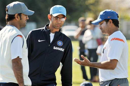 Virender Sehwag attends Team India's training at Nelson Park in Napier on Wednesday.(AP Photo)