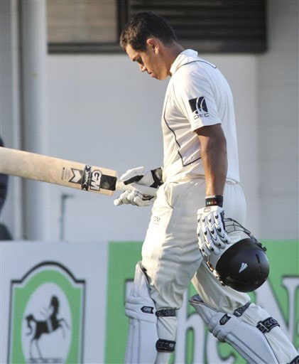 New Zealand's Ross Taylor out for 151 runs caught off the bowling of India's Harbhajan Singh on the 1st day of the 2nd Test at McLean Park in Napier on Thursday. (AP Photo)