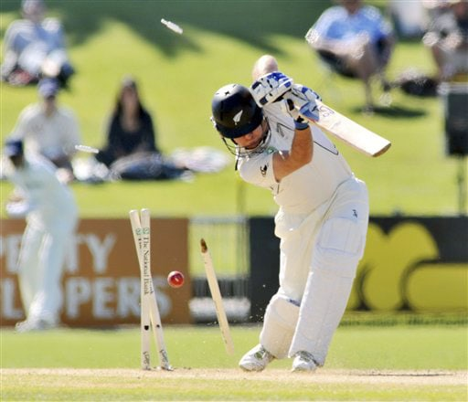 New Zealand's Jamie How bowled out for 1 by India's Zaheer Khan on the 1st day of the 2nd Test at McLean Park in Napier on Thursday. (AP Photo)