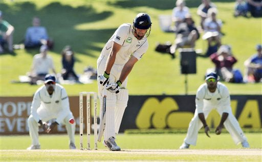 New Zealand's Tim McIntosh turns the ball down leg side against India on the 1st day of the 2nd Test at McLean Park in Napier on Thursday. (AP Photo)