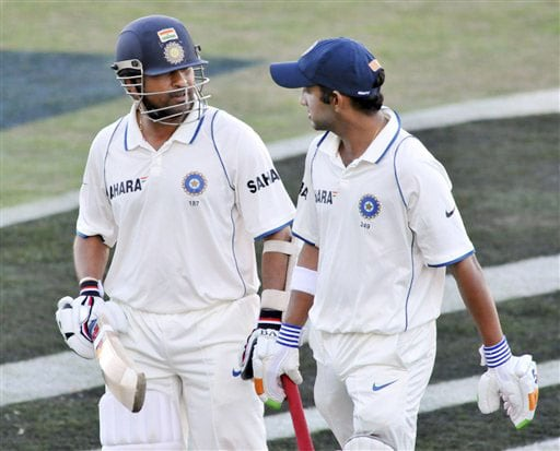 Sachin Tendulkar (58*) and Gautam Gambhir (102*) leave the field at the end of play during the 4th day of the 2nd Test at McLean Park in Napier against New Zealand on Sunday. (AP Photo)