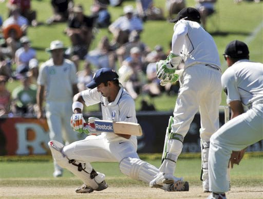 Gautam Gambhir plays forward against New Zealand during the 4th day of the 2nd Test at McLean Park in Napier on Sunday. (AP Photo)