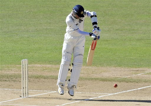 Rahul Dravid bats up on his toes against New Zealand during the 4th day of the 2nd Test at McLean Park in Napier on Sunday. (AP Photo)
