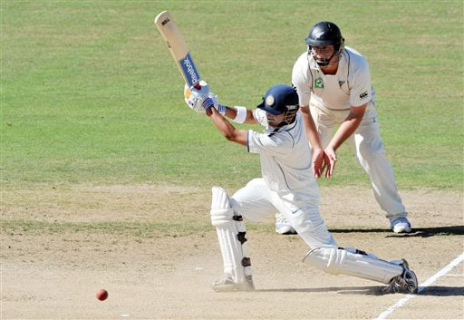 Gautam Gambhir bats against New Zealand on the 5th day of the 2nd Test at McLean Park in Napier on Monday. (AP Photo)