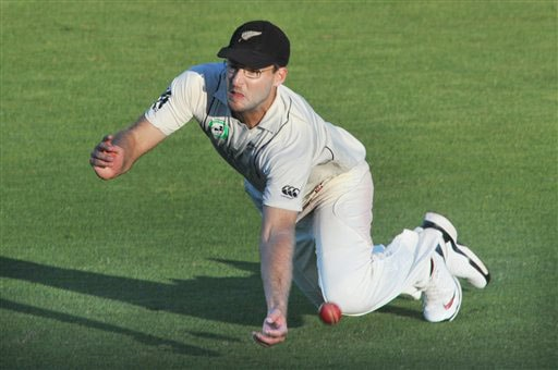 New Zealand's Daniel Vettori drops a catch off the batting of India's Zaheer Khan on the 1st day of the 3rd Test at Basin Reserve in Wellington on Friday. (AP Photo)