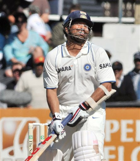 India's Sachin Tendulkar reacts after missing a shot against New Zealand on the 1st day of the 3rd Test at Basin Reserve in Wellington on Friday. (AP Photo)