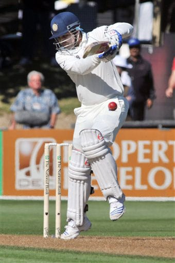 India's Virender Sehwag takes a ball on the hip against New Zealand on the 1st day of the 3rd Test at Basin Reserve in Wellington on Friday. (AP Photo)