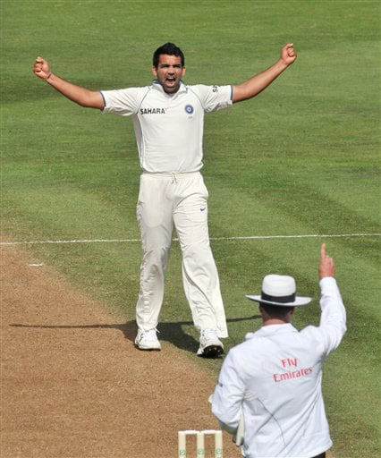 India's Zaheer Khan celebrates the wicket of New Zealand's Tim McIntosh on the second day of their 3rd Test at Basin Reserve in Wellington on Saturday. (AP Photo)