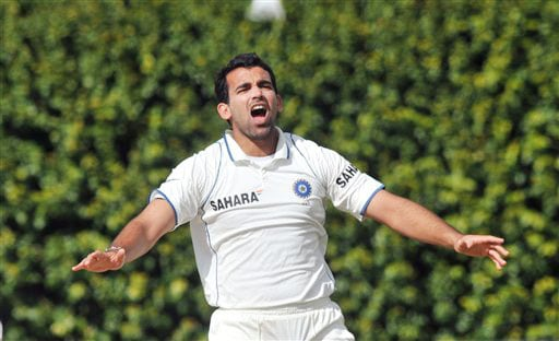 India's Zaheer Khan successfully appeals the wicket of New Zealand's Daniel Flynn on the second day of their 3rd Test at Basin Reserve in Wellington on Saturday. (AP Photo)