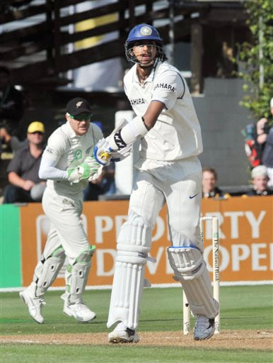 India's Ishant Sharma is caught behind by New Zealand's Brendon McCullum to end the innings on the second day of their 3rd Test at Basin Reserve in Wellington on Saturday. (AP Photo)