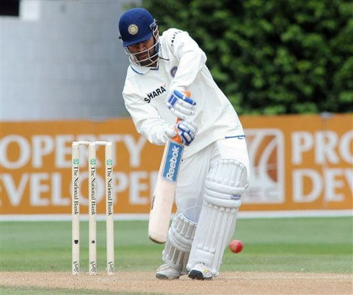 India's MS Dhoni bats against New Zealand on the 4th day of the 3rd Test at Basin Reserve in Wellington on Monday. (AP Photo)