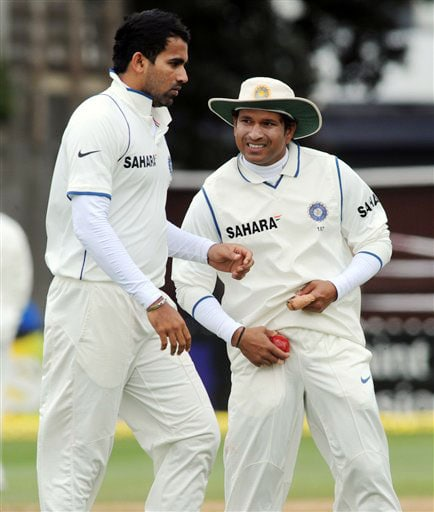 India's Zaheer Khan and Sachin Tendulkar against New Zealand on the 4th day of the 3rd Test at Basin Reserve in Wellington on Monday. (AP Photo)