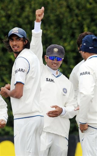India's Rahul Dravid celebrates his new world record of catches in Test matches with the wicket of New Zealand's Tim McIntosh on the 4th day of the 3rd Test at Basin Reserve in Wellington on Monday. (AP Photo)