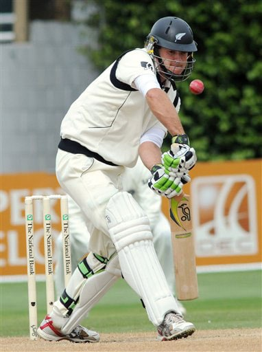 New Zealand's Tom McIntosh plays against India on the 4th day of the 3rd Test at Basin Reserve in Wellington on Monday.(AP Photo)