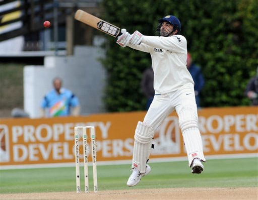 India's Zaheer Khan bats against New Zealand on the 4th day of the 3rd Test at Basin Reserve in Wellington on Monday. (AP Photo)