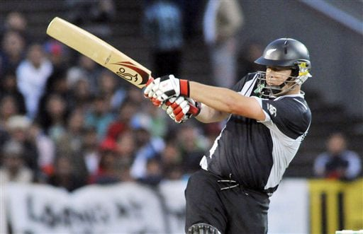 Jesse Ryder plays against India in the 5th ODI match at Auckland on Saturday. (AP Photo)