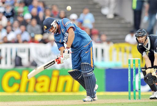 India's Rohit Sharma bats against New Zealand in the 5th ODI match at Auckland on Saturday. (AP Photo)