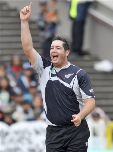 New Zealand's Jesse Ryder celebrates the wicket of Yuvraj Singh on the 5th ODI match at Auckland on Saturday. (AP Photo)