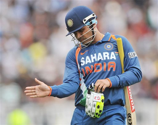 India's Virender Sehwag out against New Zealand in the 5th ODI match at Auckland on Saturday. (AP Photo)