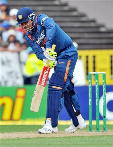 Virender Sehwag bats against New Zealand in the 5th ODI match at Auckland on Saturday. (AP Photo)