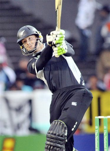 New Zealand's Martin Guptill bats against India in the 5th ODI match at Auckland on Saturday. (AP Photo)
