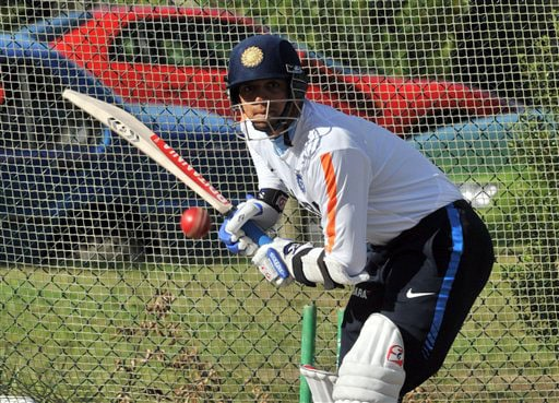 India's Rahul Dravid in the nets at the Test players first net session prior to their forthcoming three Test series against New Zealand in Hamilton on Thursday. (AP Photo)