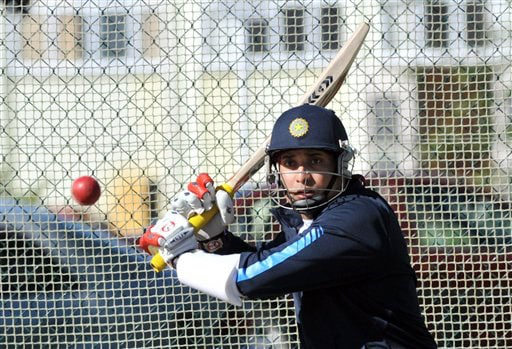 India's VVS Laxman in the nets at the Test players first net session prior to their forthcoming three Test series against New Zealand in Hamilton on Thursday. (AP Photo)