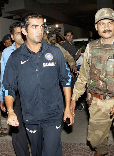 India's Gautam Gambhir arrives at the airport in New Delhi on Thursday after winning the Test series in New Zealand. (AP Photo)