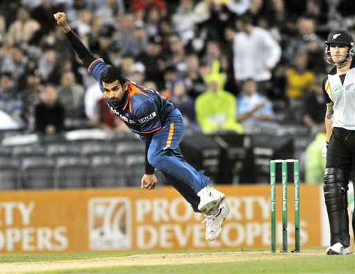 Zaheer Khan bowls against New Zealand in the first Twenty20 International at Christchurch on Wednesday. (AP Photo)