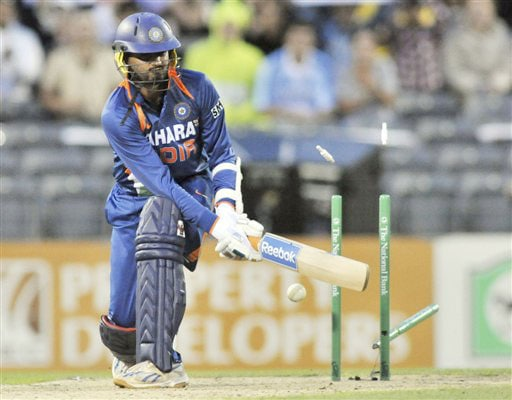 Harbajan Singh is bowled in with the last ball of the innings by Tim Southee during the first Twenty20 International at Christchurch on Wednesday. (AP Photo)