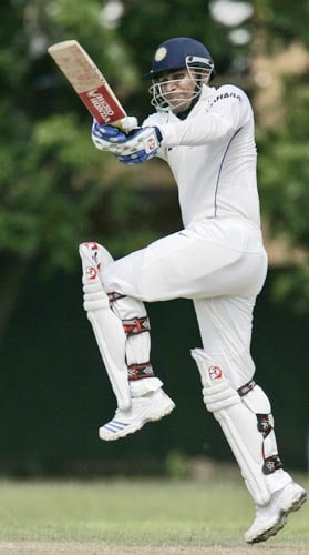 Virender Sehwag bats against Sri Lanka Board XI team during a practice match in Colombo, Sri Lanka on July 19, 2008.