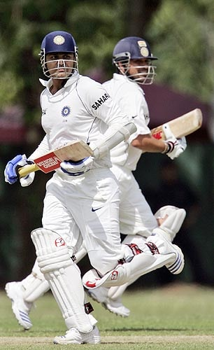 Virender Sehwag and Sachin Tendulkar run between the wickets during a practice match in Colombo, Sri Lanka on July 19, 2008.