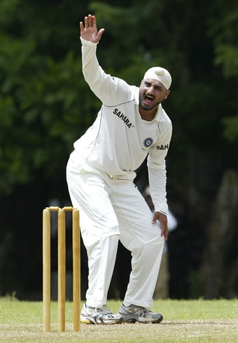 Harbhajan Singh appeals unsuccessfully during the final day of a three day practice match between Sri Lanka A team and India in Colombo, Sri Lanka on July 20, 2008.